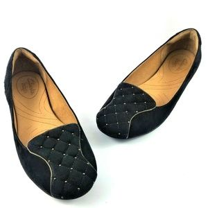 Clarks Indigo 7M Black Suede Quilted Studded Flats